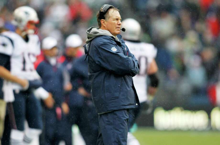 New England Patriots head coach Bill Belichick watches from the sideline in the first half of an NFL football game against the Seattle Seahawks, Sunday, Oct. 14, 2012, in Seattle. Photo: AP