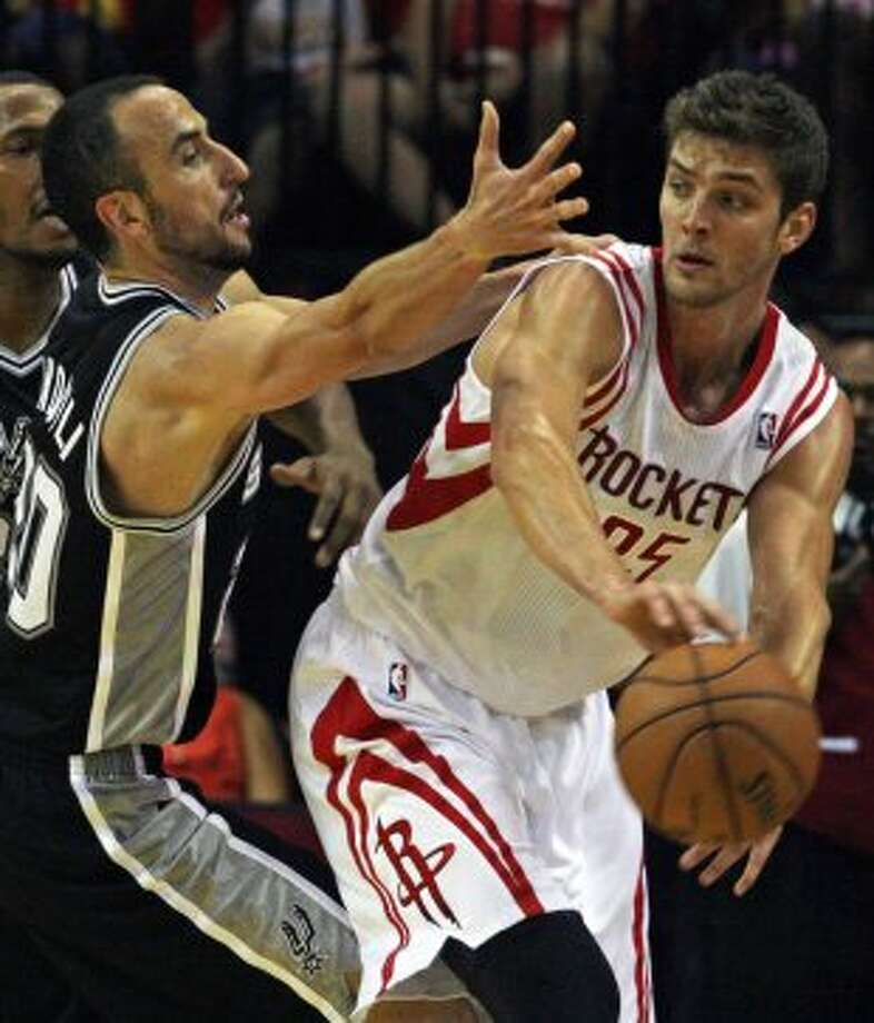 The Houston Rockets and the San Antonio Spurs during the quarter of NBA preseason game action at the Toyota Center Sunday, Oct. 14, 2012, in Houston. ( James Nielsen / Chronicle ) (Chronicle)