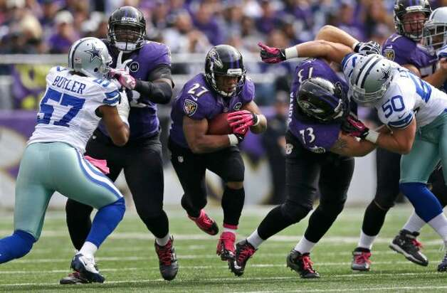 Baltimore Ravens running back Ray Rice (27) rushes for a first down in the first half of an NFL football game against the Dallas Cowboys in Baltimore, Sunday, Oct. 14, 2012. (AP Photo/Patrick Semansky) (Associated Press)