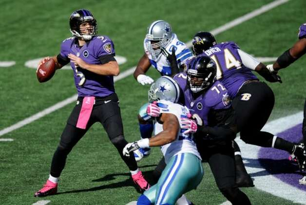 Baltimore Ravens quarterback Joe Flacco, left, looks for a receiver as he is pressured by Dallas Cowboys defenders in the first half of an NFL football game in Baltimore, Sunday, Oct. 14, 2012. (AP Photo/Nick Wass) (Associated Press)