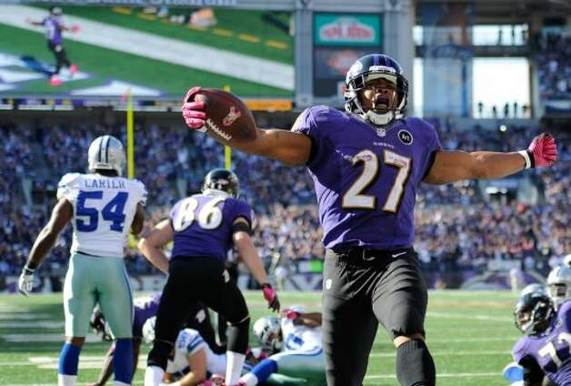 Baltimore Ravens running back Ray Rice reacts after scoring a touchdown in the second half of an NFL football game against the Dallas Cowboys in Baltimore, Sunday, Oct. 14, 2012. (AP Photo/Nick Wass) (Associated Press)