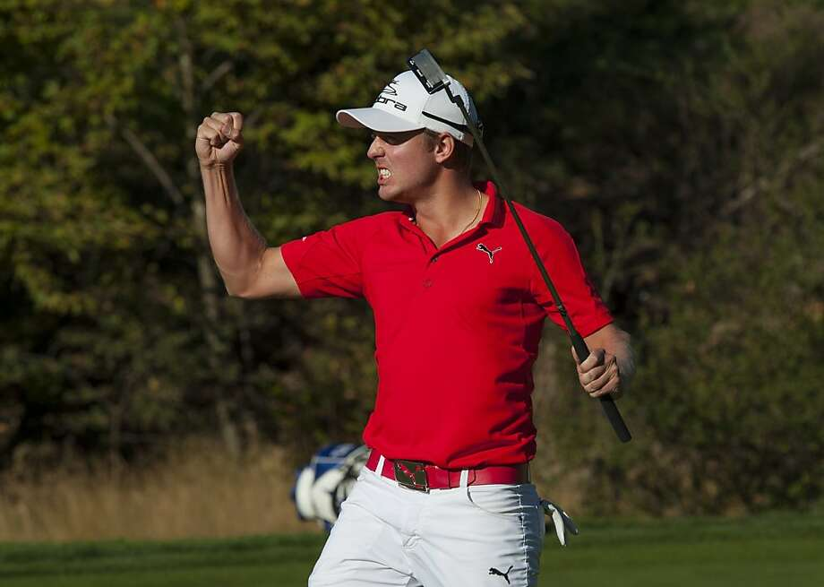 Jonas Blixt of Sweden celebrates his par putt on the 18th hole to clinch his first PGA Tour victory at the Frys.com Open at CordeValle in San Martin. Photo: Robert Laberge, Getty Images