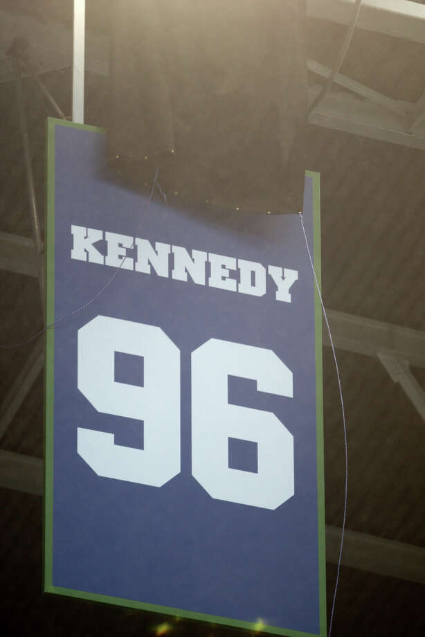Seattle Seahawks Hall of Fame player Cortez Kennedy's jersey is retired during a halftime ceremony against the New England Patriots on Sunday, October 14, 2012 at CenturyLink Field in Seattle. The Hawks beat the Patriots 24 to 23. Photo: JOSHUA TRUJILLO / SEATTLEPI.COM