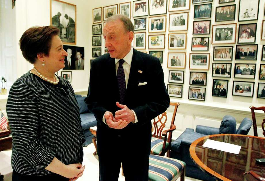 FILE - In a May 13, 2010 file photo, Sen. Arlen Specter, R-Pa., right, meets with Supreme Court nominee Solicitor General Elena Kagan on Capitol Hill in Washington.  Former U.S. Sen. Arlen Specter, longtime Senate moderate and architect of one-bullet theory in JFK death, died Sunday, Oct. 14, 2012.  He was 82.(AP Photo/Alex Brandon, File) Photo: Alex Brandon