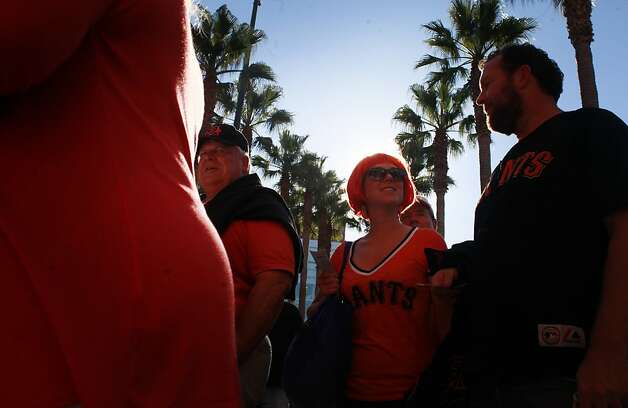 Katie Nejasmich, of of San Francisco make her way in to AT&T park to see the San Francisco Giants play the St. Louis Cardinals in NLCS Game 1 on Sunday Oct. 14, 2012 in San Francisco, Calif. Photo: Mike Kepka, The Chronicle