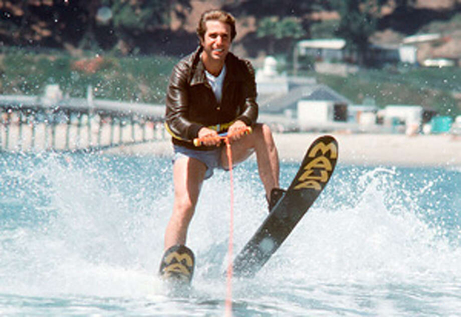 "The Fonz (Henry Winkler) ""jumps the shark"" on the Sept, 20, 1977 episode of of the ABC sitcom ""Happy Days."""