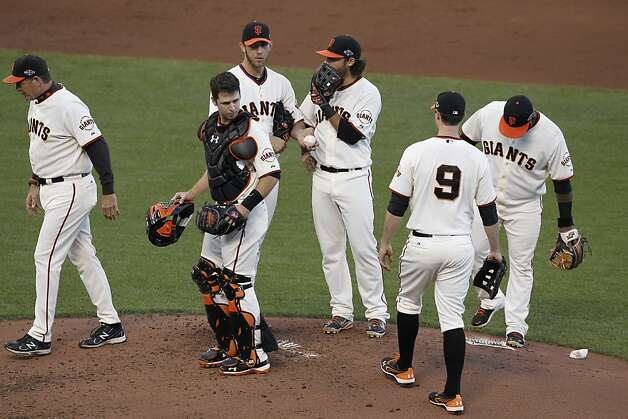 Giants' pitcher Madison Bumgarner is left on the mound after giving up a two-run homer in the second inning during game 1 of the NLCS at AT&T Park on Sunday, Oct. 14, 2012 in San Francisco, Calif. Photo: Michael Macor, The Chronicle