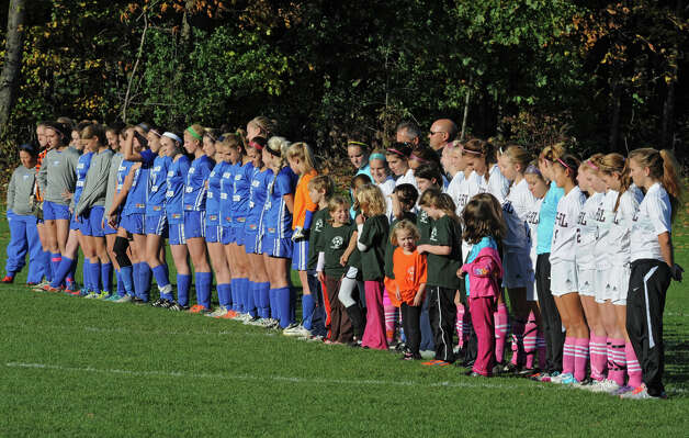 Shaker and Burnt Hills soccer players line up for the National Anthem before a soccer game Thursday, Oct. 11, 2012 in Burnt Hills, N.Y.  (Lori Van Buren / Times Union) Photo: Lori Van Buren