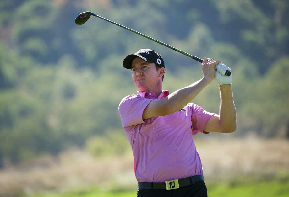 Jimmy Walker makes a tee shot on the ninth hole during the final round of the Frys.com Open at the CordeValle Golf Club on October 14, 2012 in San Martin, California. Photo: Robert Laberge, Getty Images / 2012 Getty Images