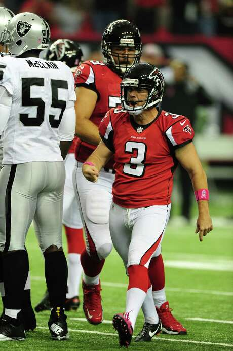 The Falcons' Matt Bryant was strutting after the diminutive kicker became the biggest man on the field by hitting a 55-yard, game-winning field goal. Photo: Scott Cunningham / 2012 Getty Images
