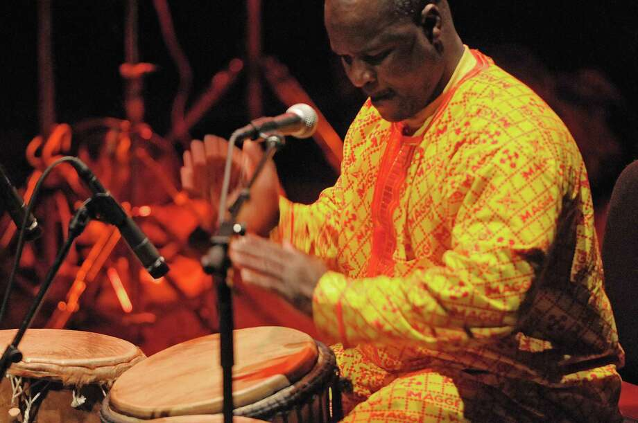 Musician Zorkie Nelson plays the drums during the Drums Along the MoHu at The Egg on Sunday, Oct. 14, 2012 in Albany, NY.  The free show was part of the MoHu Arts Festival.   (Paul Buckowski / Times Union) Photo: Paul Buckowski
