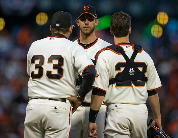 San Francisco Giants pitching coach Dave Righetti (33) visits starting pitcher Madison Bumgarner (40) on the mound along with catcher Buster Posey (28) during Game 1 of the National League baseball championship series against the St. Louis Cardinals, Sunday, Oct. 14, 2012, in San Francisco. (AP Photo/The Sacramento Bee, Jose Luis Villegas) MAGS OUT; LOCAL TV OUT (KCRA3, KXTV10, KOVR13, KUVS19, KMAZ31, KTXL40); MANDATORY CREDIT Photo: Jose Luis Villegas, Associated Press