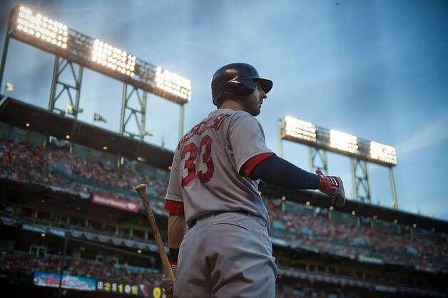 St. Louis Cardinals' Daniel Descalso (33) waits for a chance to bat during Game 1 of the National League baseball championship series with the San Francisco Giants, Sunday, Oct. 14, 2012, in San Francisco. (AP Photo/The Sacramento Bee, Jose Luis Villegas) MAGS OUT; LOCAL TV OUT (KCRA3, KXTV10, KOVR13, KUVS19, KMAZ31, KTXL40); MANDATORY CREDIT Photo: Jose Luis Villegas, Associated Press