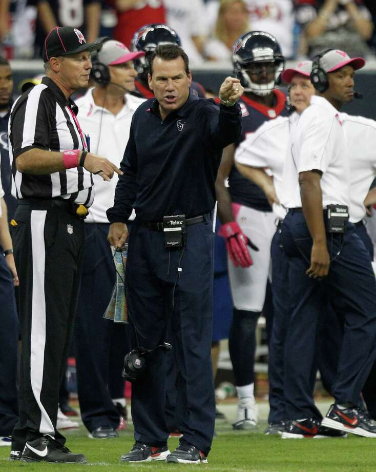 Houston Texans head coach Gary Kubiak argues after a penalty was called against his team during the second quarter against the Green Bay Packers at Reliant Stadium on Sunday, Oct. 14, 2012, in Houston. Photo: Brett Coomer, Houston Chronicle / © 2012  Houston Chronicle
