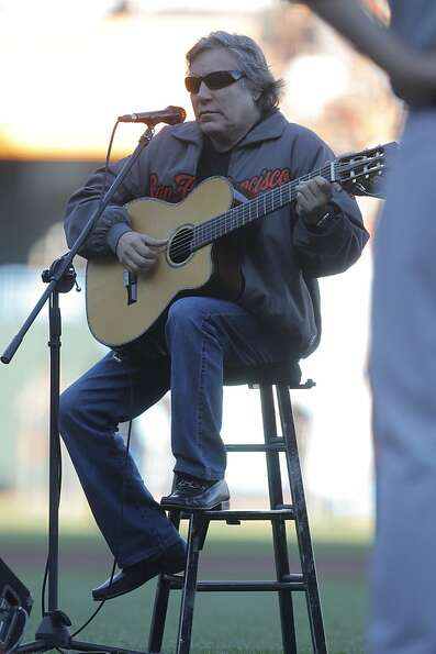 Jose Feliciano sings the National Anthem prior to game 1 of the NLCS at AT&T Park on Sunday, Oct