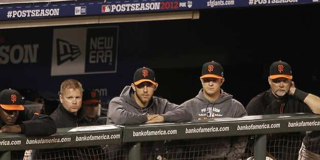 GiantsÕ pitcher Madison Bumgarner and Matt Cain watch from the dugout in the 8th inning during game 1 of the NLCS at AT&T Park on Sunday, Oct. 14, 2012 in San Francisco, Calif. Photo: Michael Macor, The Chronicle
