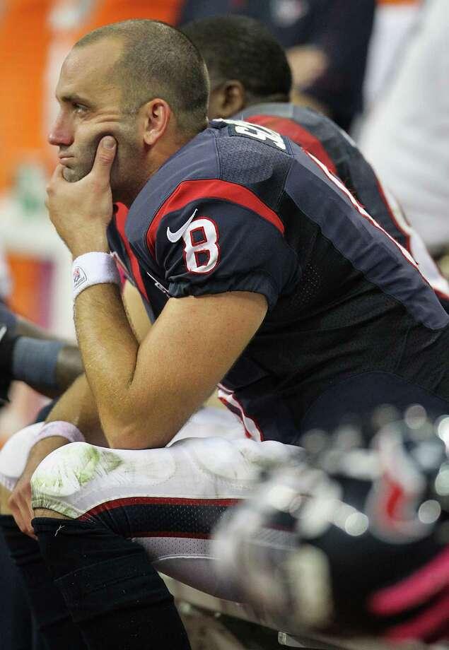 Texans quarterback Matt Schaub (8) reacts on the bench during the fourth quarter. Photo: Karen Warren, Houston Chronicle / © 2012  Houston Chronicle