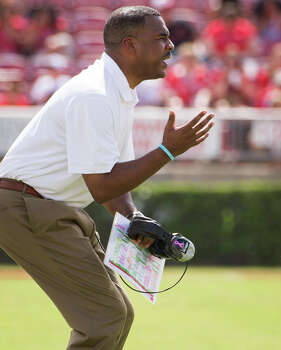 UAB head coach Garrick McGee reacts after a Houston sack of his quarterback Austin Brown during the first half of a college football game at Robertson Stadium, Saturday, Oct. 13, 2012, in Houston. Photo: Smiley N. Pool, Houston Chronicle / © 2012  Houston Chronicle