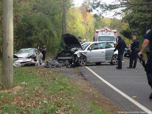 A WTNH Report It photo shows severe damage to two vehicles in a head-on collision on Rt. 67 in Seymour that sent 5 to the hospital. Oct 13, 2012. Photo: Contributed Photo