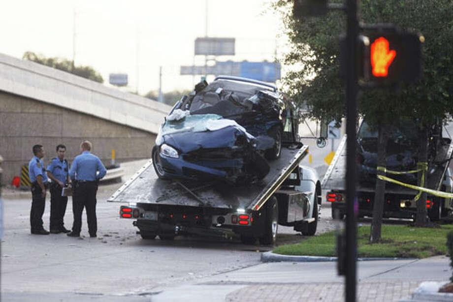 Houston police say the driver of a black Impala was under the influence of PCP when he slammed into a blue Impala leaving a gas station, killing the man and woman inside, about 12:20 a.m. Monday on the U.S. 59 service road near Kirby. Photo: .