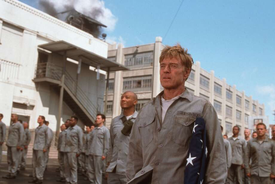 "Robert Redford and other actors film ""The Last Castle"" in the old Tennessee State Prision in Nashville, Tenn. during the summer of 2001. Credit: Elliott Marks/TM & Dreamworks LLC"