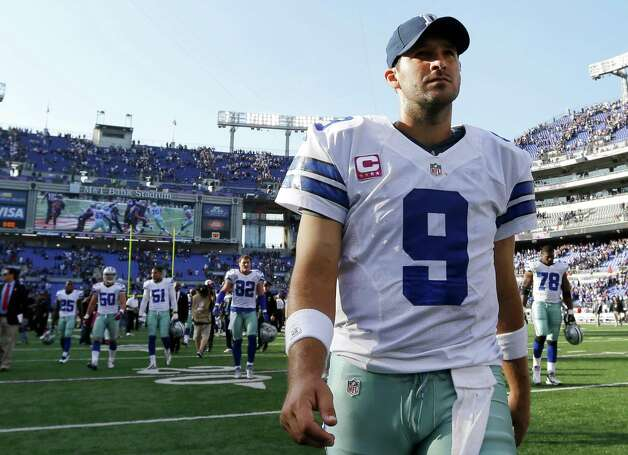 Dallas Cowboys quarterback Tony Romo walks off the field after an NFL football game against the Baltimore Ravens in Baltimore, Sunday, Oct. 14, 2012. Baltimore won 31-29. (AP Photo/Patrick Semansky) Photo: Patrick Semansky, STF / AP