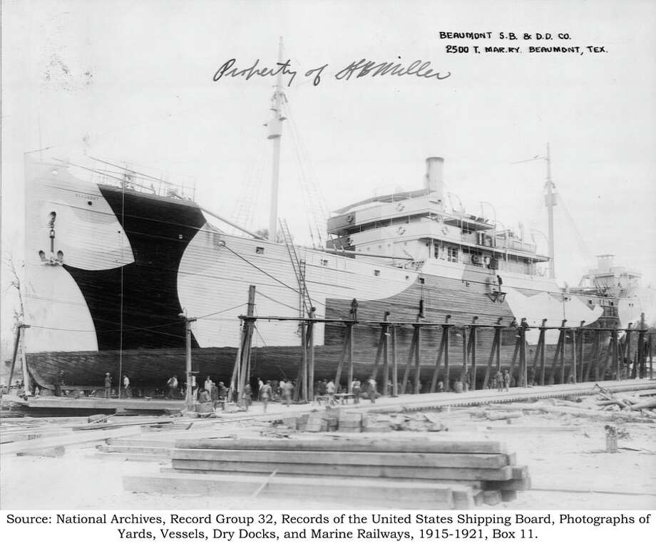 Jeff Enright of the Florida-based Southeastern Archaeological Research, Inc. believes the wooden cargo ship at the bottom of the Neches River looks like the one pictured. The boat pictured was docked in Beaumont sometime between 1915 to 1921. (Courtesy of the National Archives) Photo: Courtesy Of The National Archive