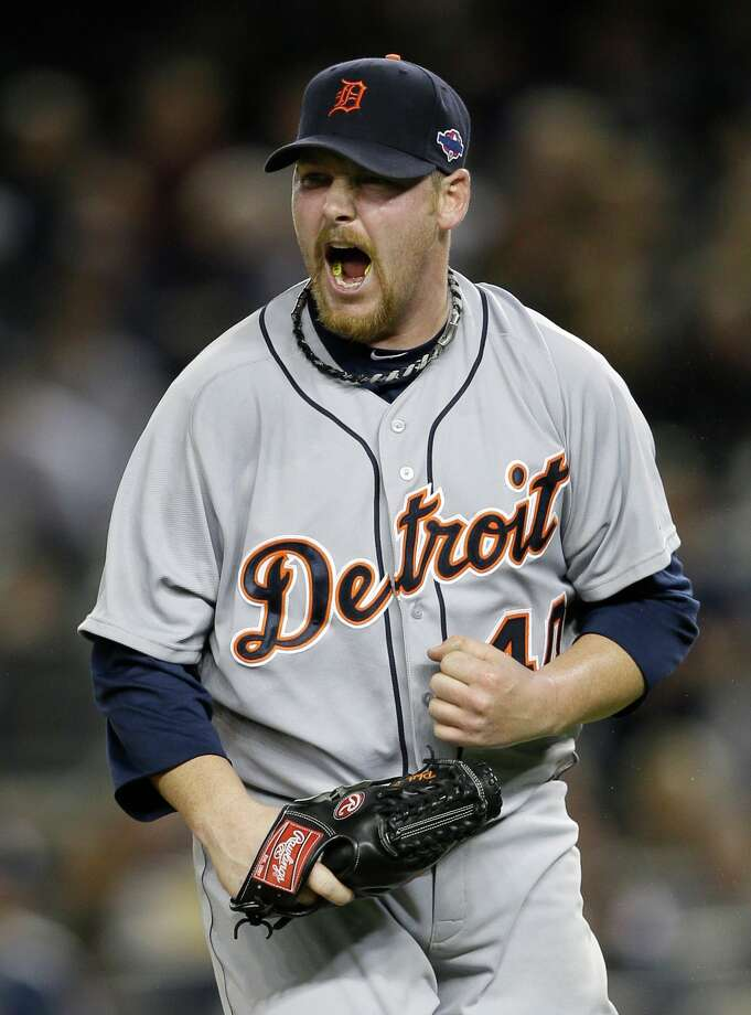 Detroit Tigers' Phil Coke reacts after striking out New York Yankees' Curtis Granderson to end Game 2 of the American League championship series Sunday, Oct. 14, 2012, in New York. The Tigers defeated the Yankees 3-0. Photo: Matt Slocum, AP / AP
