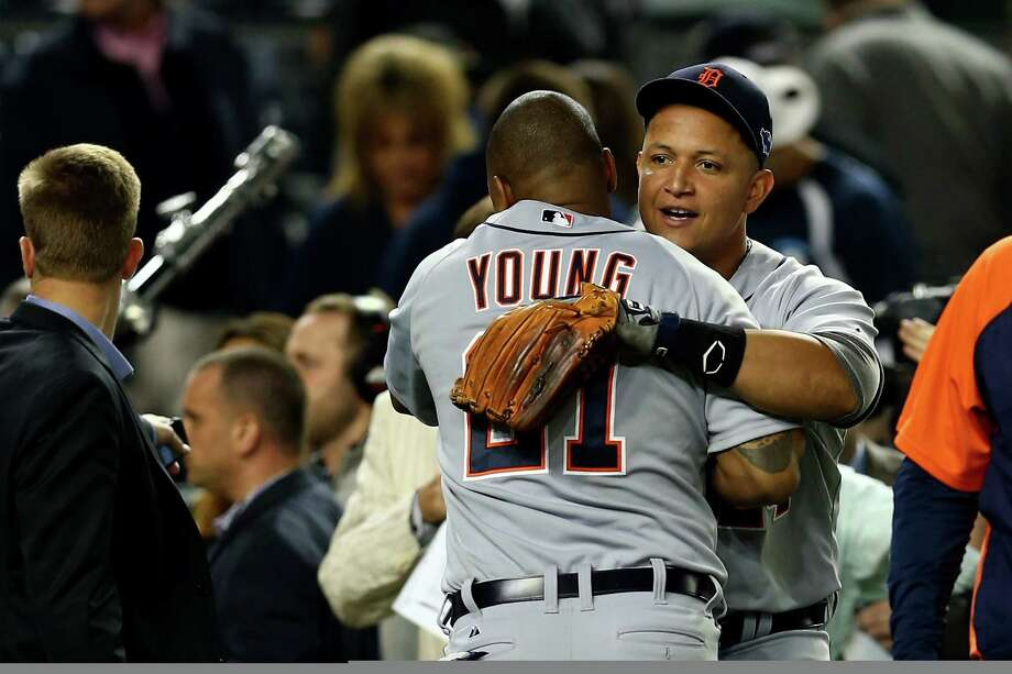 NEW YORK, NY - OCTOBER 14:  Miguel Cabrera #24 (R) and Delmon Young #21 of the Detroit Tigers celebrate after they won 3-0 against the New York Yankees during Game Two of the American League Championship Series at Yankee Stadium on October 14, 2012 in the Bronx borough of New York City. Photo: Elsa, Getty Images / 2012 Getty Images
