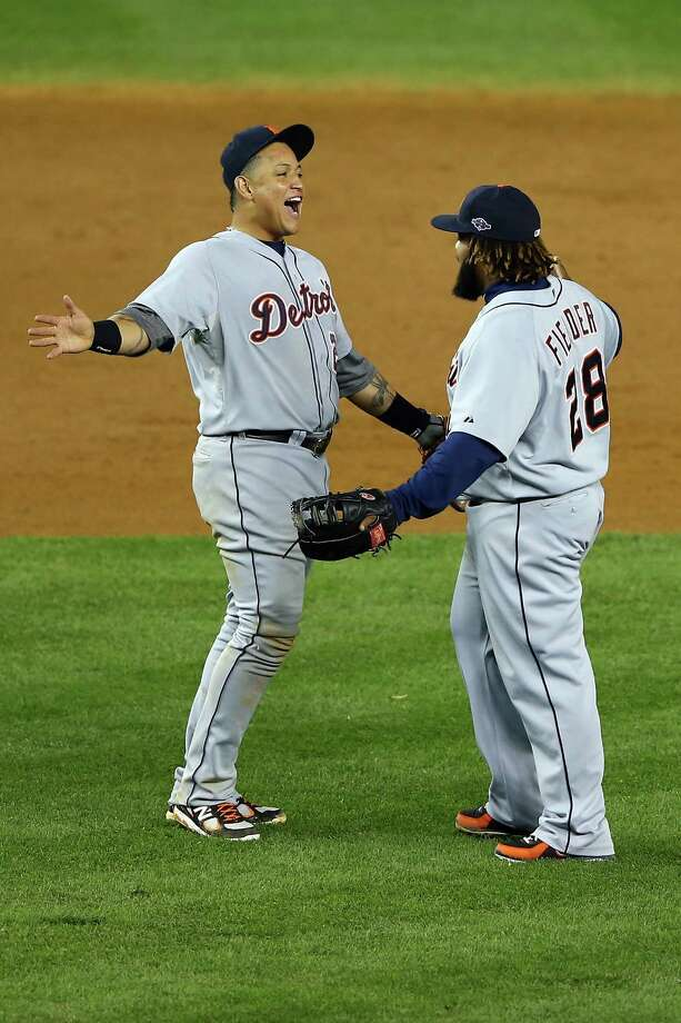 NEW YORK, NY - OCTOBER 14:  (L-R) Miguel Cabrera #24 and Prince Fielder #28 of the Detroit Tigers celebrate after they won 3-0 against the New York Yankees during Game Two of the American League Championship Series at Yankee Stadium on October 14, 2012 in the Bronx borough of New York City. Photo: Al Bello, Getty Images / 2012 Getty Images
