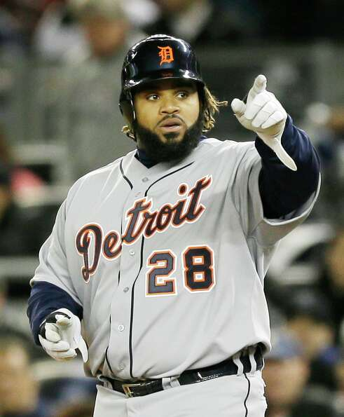 Detroit Tigers' Prince Fielder reacts after hitting a run scoring single in the sixth inning  during