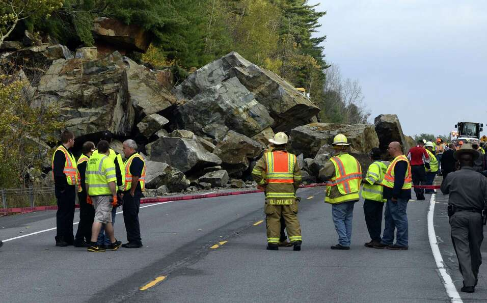 A large rock slide Monday morning has closed State Route 4 north of Fort Ann.  Numerous pieces of he