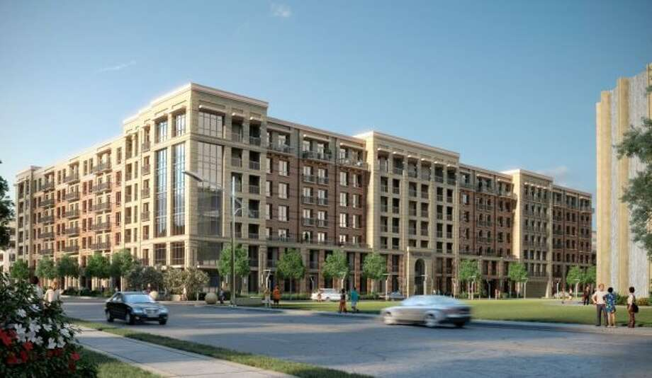 A Hines partnernership started construction of seven story, 322-unit WaterWall Park luxury apartments in August 2012. It will overlook the Gerald D. Hines Waterwall Park. (Hines)