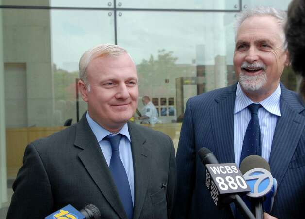 William Bryan Jennings and his lawyer Eugene Riccio in on Monday October 15, 2012 at the Stamford, Conn. courthouse where charges were dropped for the hate crime, assault and other charges he was accused of when he was arrested earlier this year for not paying a New York City taxi driver and then using a pen knife to slash his hand. Photo: Dru Nadler / Stamford Advocate Freelance