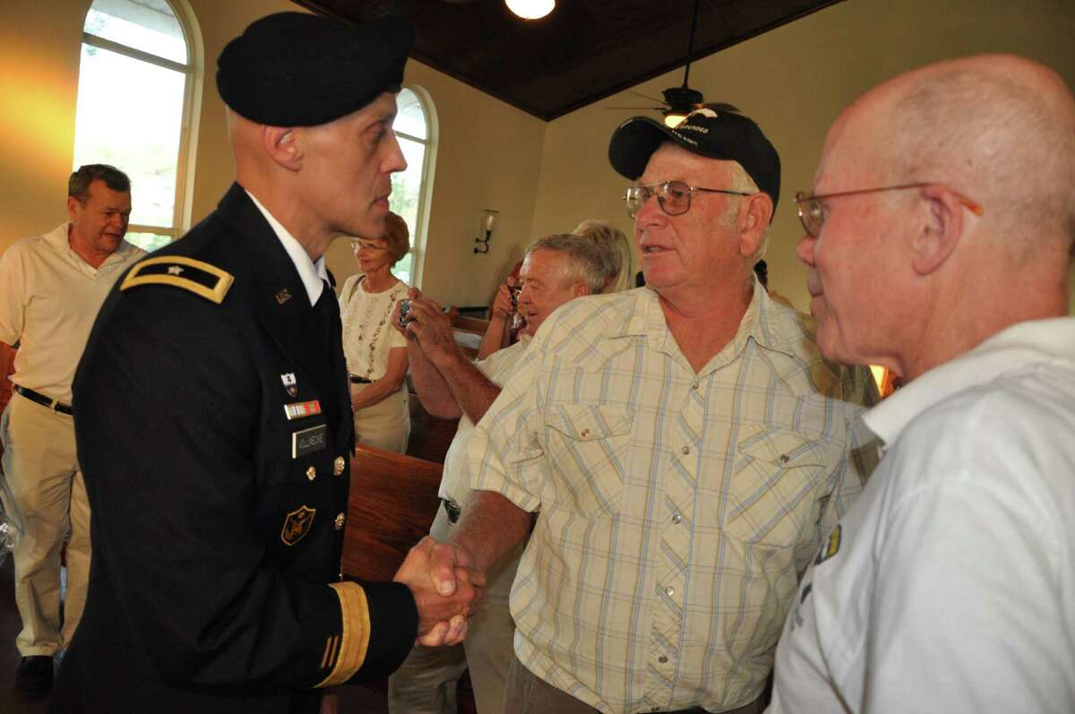 Brig. Gen. Kirk Vollmecke talks to members of the 101st Airborne Division's Delta Raiders at an Oct. 5 memorial service in Lockhart honoring the 54 soldiers who paid the ultimate sacrifice during the Vietnam War.