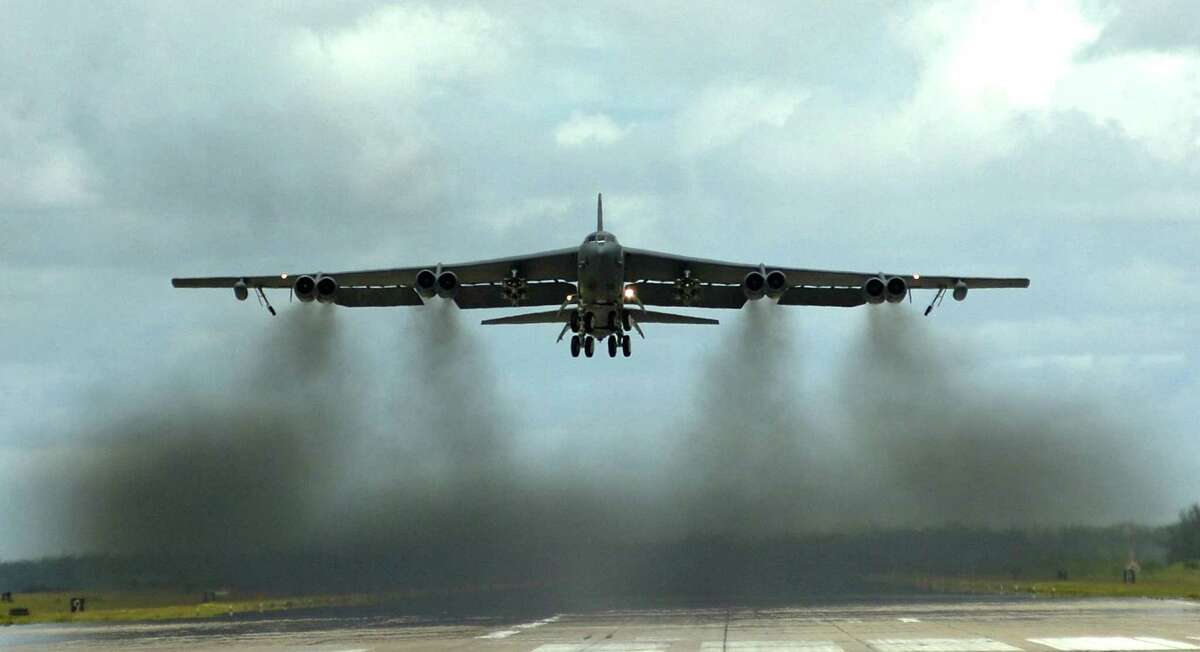 A B-52 Stratofortress takes off from a forward operating location in Southwest Asia. In the fall of 2007, the Air Force admitted that six nuclear-armed missiles were erroneously flown from Minot AFB, N.D., to Barksdale AFB, La., in August of that year.