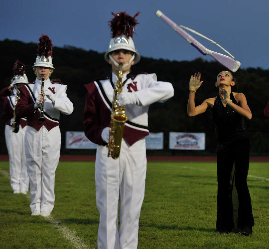 The Naugatuck High School marching band and color guard performs at the annual Quest for the Best marching band and color guard competition at Bethel High School on Saturday, Oct. 13, 2012. Photo: Jason Rearick / The News-Times