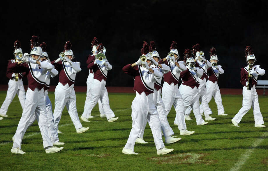 Naugatuck High School marching band members perform at the annual Quest for the Best marching band and color guard competition at Bethel High School on Saturday, Oct. 13, 2012. Photo: Jason Rearick / The News-Times