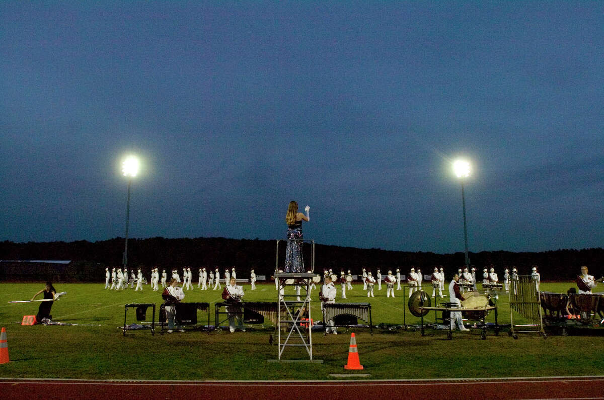 The Naugatuck High School marching band performs at the annual Quest for the Best marching band and color guard competition at Bethel High School on Saturday, Oct. 13, 2012.