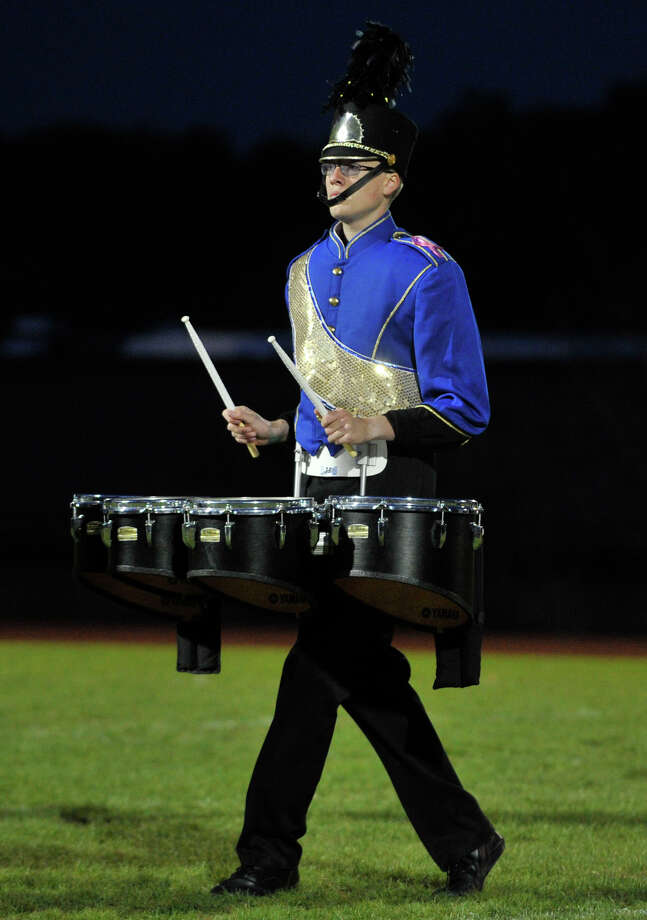 Brookfield High School marching band tenor drummer Alex Belden performs at the annual Quest for the Best marching band and color guard competition at Bethel High School on Saturday, Oct. 13, 2012. Photo: Jason Rearick / The News-Times