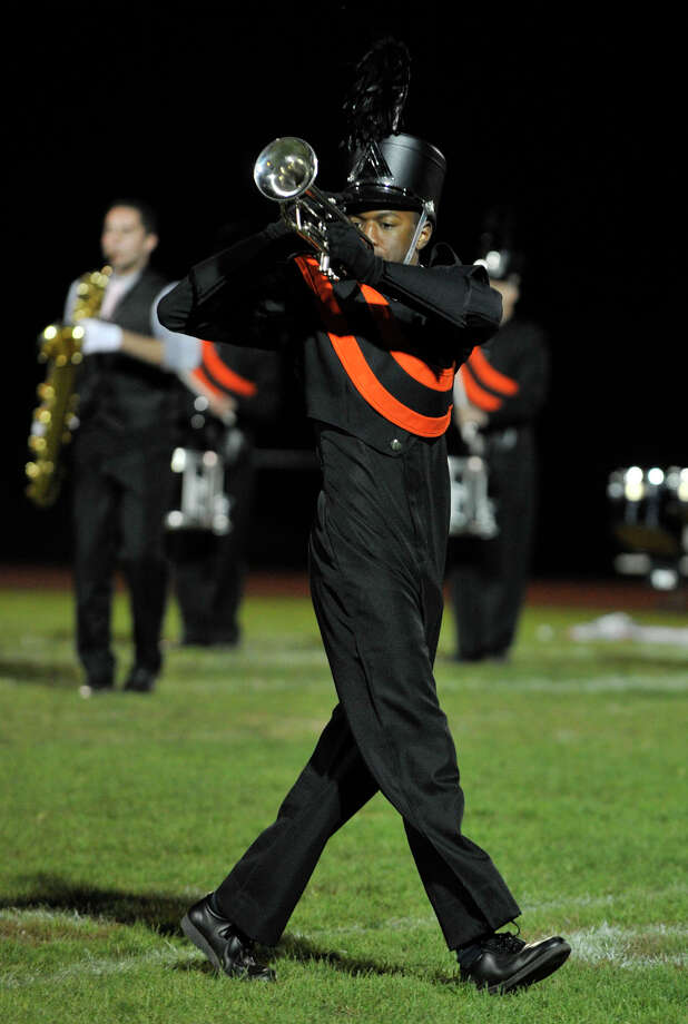 Shelton High School marching band member Tom Savarese performs at the annual Quest for the Best marching band and color guard competition at Bethel High School on Saturday, Oct. 13, 2012. Photo: Jason Rearick / The News-Times
