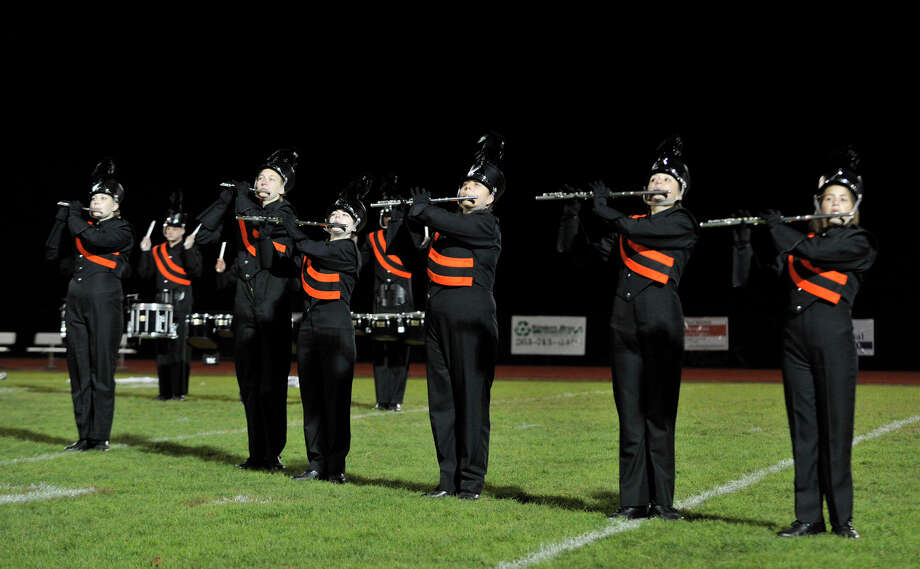 Shelton High School marching band and color guard members perform at the annual Quest for the Best marching band and color guard competition at Bethel High School on Saturday, Oct. 13, 2012. Photo: Jason Rearick / The News-Times