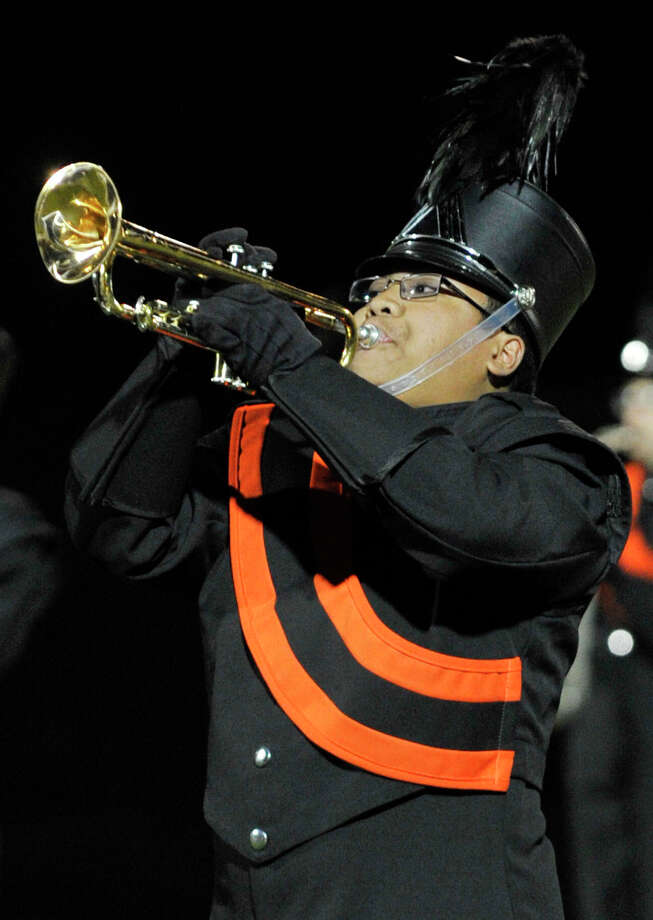 Shelton High School marching band member Ben Yambao performs at the annual Quest for the Best marching band and color guard competition at Bethel High School on Saturday, Oct. 13, 2012. Photo: Jason Rearick / The News-Times