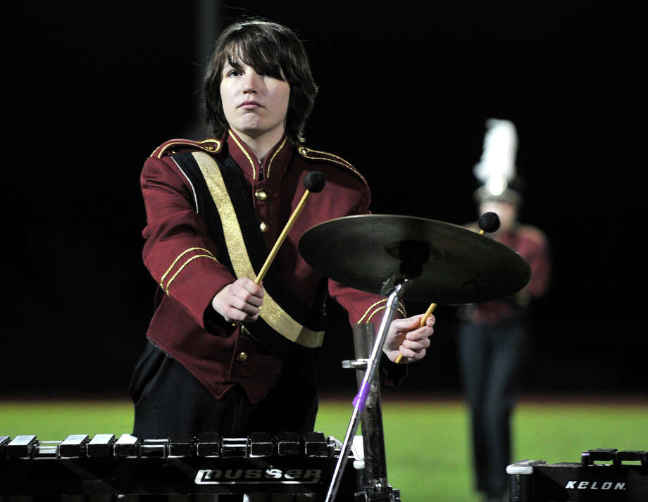 Bethel High School marching band member Emma Nackid plays the xylophone at the annual Quest for the Best marching band and color guard competition at Bethel High School on Saturday, Oct. 13, 2012. Photo: Jason Rearick / The News-Times