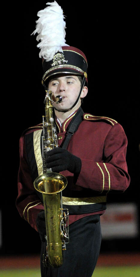 Bethel High School marching band member Joey Mello plays the saxophone at the annual Quest for the Best marching band and color guard competition at Bethel High School on Saturday, Oct. 13, 2012. Photo: Jason Rearick / The News-Times