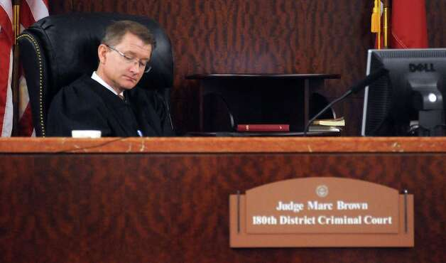 Judge Marc Brown listens to attorney Mike DeGeurin during Jessica Tata's pretrial hearings in the 180th state district court   Monday Oct. 15,2012.(Dave Rossman photo) Photo: Dave Rossman, For The Houston Chronicle / © 2012 Dave Rossman