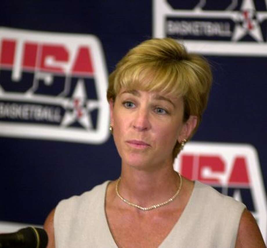 Nell Fortner USA Women's Basketball National Team Coach makes remarks about the game they will play Mexico in San Antonio as a warm-up game for the 2000 Olympics. Photo by Charles Barksdale (EXPRESS-NEWS FILE PHOTO)