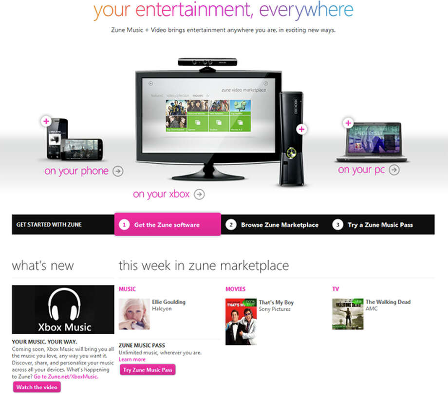 A screen shot from the Zune website on Monday, Oct. 15, 2012, shows, in the lower left, Microsoft's announcement of Xbox Music. Photo: Microsoft