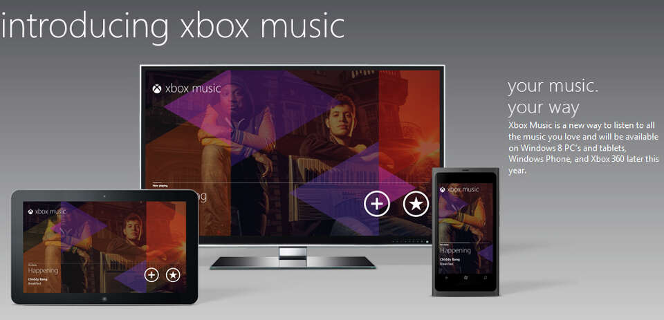A screen shot from the Zune website on Monday, Oct. 15, 2012, introducing Xbox Music.