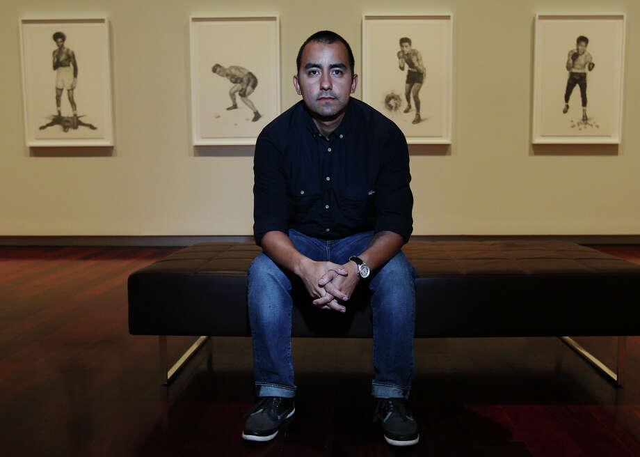 "Vincent Valdez solo exhibit at the McNay Art Museum includes a mural, titled ""John,"" of a longtime friend who served in Iraq. Valdez will celebrate his exhibit with ""An Evening with Vincent Valdez & the AMTones."" Kin Man Hui/San Antonio Express-News Photo: Kin Man Hui, San Antonio Express-News / MCNAY VALDEZ"